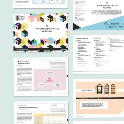 Julkaisun ladattavan Hyvinvointiaktivistin käsikirjan ja liitteiden taitto, design Tanja kallio