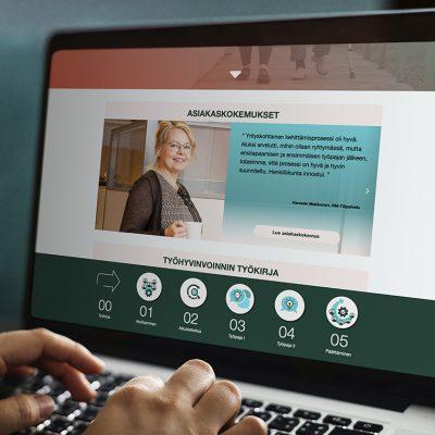 Työhyvinvointiboosteri verkkosivu layout, design Tanja Kallio