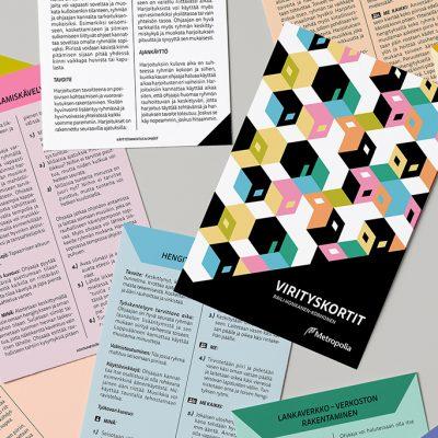 Julkaisun painetettavan Virityskortit-työkalun taitto, design Tanja Kallio