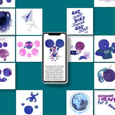 Kuvitusta Spoonful of Awesome Parenting -sovellukseen, design Tanja Kallio